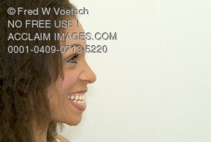 Stock Photo of a Profile of a Smiling Woman