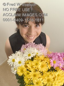 Stock Photo of a Girl With a Bouquet of Flowers