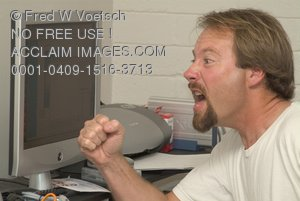 Clip Art Stock Photo of a Man About To Punch a Computer Screen