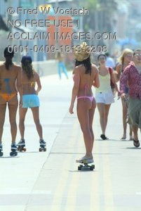 Clip Art Stock Photo of Sexy Girls On The Boardwalk, Mission Beach, California