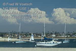 Stock Photo of Mission Bay, California - Sailboats and Clouds
