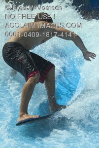 Stock Photo of Wakeboarder In Wave Pool