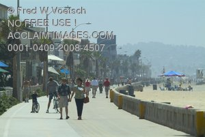 Stock Photo of People On The Mission Beach Boardwalk, San Diego, California
