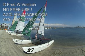 Stock Photo of Sailboats On Mission Beach