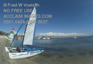 Stock Photo of a Sailboat On Mission Beach