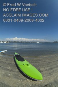 Stock Photo of a Kayak on Mission Beach
