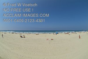 Clip Art Stock Photo of a Sunny, Summer Day On The Beach In Southern California
