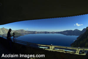 Wide Angle Stock Photo of Crater Lake