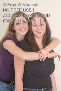 Clip Art Stock Photo of 2 Girl Friends
