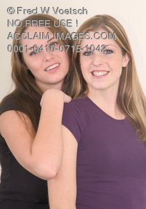 Clip Art Stock Photo of Two Girl Friends