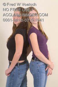 Clip Art Stock Photo of Two Girls Leaning Back To Back