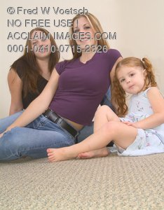 Clip Art Stock Photo of Two Friends and a Little Girl