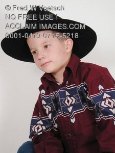 Clip Art Stock Photo of a Young Cowboy