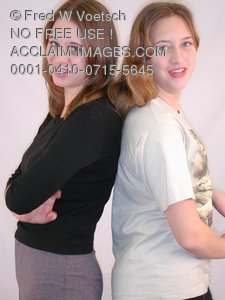 Clip Art Stock Photo of Two Sisters Posed Back To Back