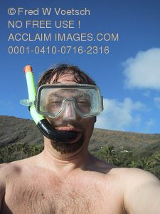 Clip Art Stock Photo of a Man In a Snorkel Mask