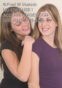 Clip Art Stock Photo of Two Girl Friends Smiling