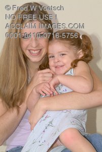 Clip Art Stock Photo of a Little Girl and Her Mother