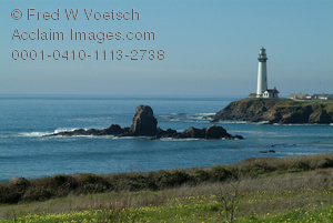 Clip Art Stock Photo of Pigeon Point Lighthouse - Central California