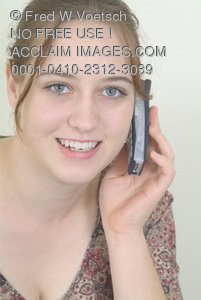 Clip Art Stock Photo of a Girl On the Telephone
