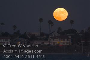 Clip Art Stock Photo of the Moon Over Mission Bay, San Diego