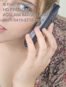 Clip Art Stock Photo of Woman On the Phone