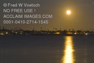Moon Over San Diego Clip Art Stock Photo