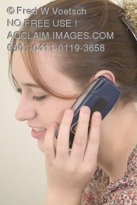 Clip Art Stock Photo of Girl Talking On the Telephone