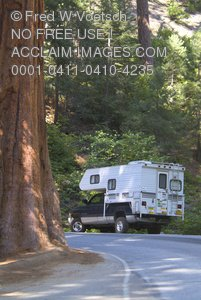 Truck With Camper In Sequoia National Park