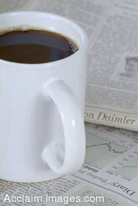 Picture of a Cup of Coffee and Newspapers