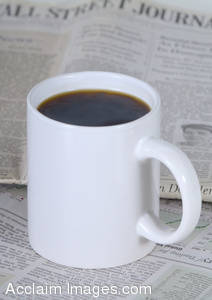 Stock Photo of a White Cup of Coffee On The Wall Street Journal