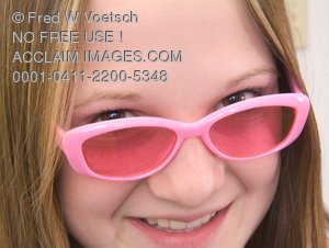 Clip Art Stock Photo of Girl In Pink Sunglasses