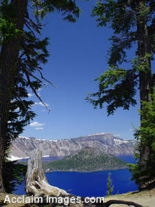 Stock Photo of Crater Lake National Parks Wizard Island