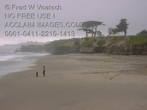 Postcard Stock Photo of Father and Child On the Beach