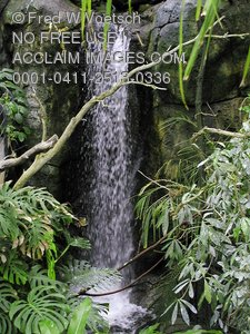 Clip Art Stock Photo of a Waterfall In the Jungle