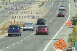 Road Construction Signs and Traffic - Clip Art Stock Photo