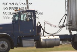 Trucking Stock Photograph: Big-Rig Truck in Motion