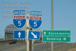 Clip Art Stock Photo of I-5 Directional Road Signs