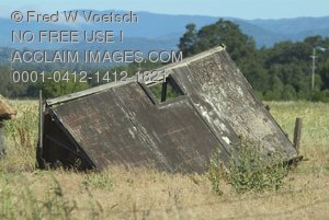 Clip Art Stock Photo of a Crumbling Old Barn