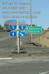 Clip Art Stock Photo of I-5 Road Signs