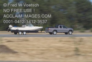 Clip Art Stock Photo of a Truck Pulling a Boat