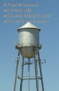 Clip Art Stock Photo of a Water Tower
