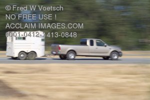 Clip Art Stock Photo of a Truck Pulling a Horse Trailer