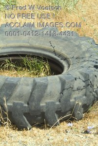 Clip Art Stock Photo of an Old Tire