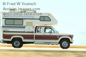 Clip Art Stock Photo of a Truck With a Camper