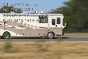 Clip Art Stock Photo of an RV Driving On a Highway