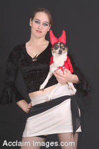 Stock Photo of a Hooker and Her Devilish Terrier