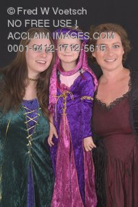 Clip Art Stock Photo of 3 Girls In Princess Costumes