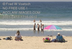 Clip Art Stock Photo of People At the Beach