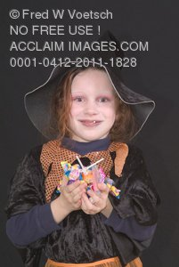 Stock Photo: A Child Dressed As a Witch