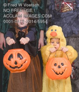 Stock Photo: Children In Halloween Costumes